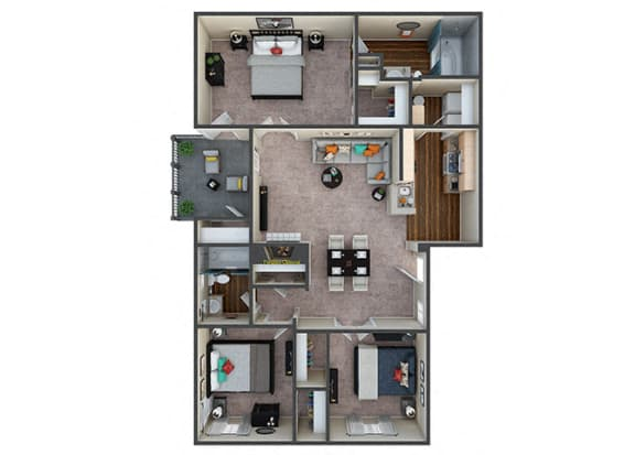 Floor Plan  Indigo Creek Hideaway 3Bed/2Bath
