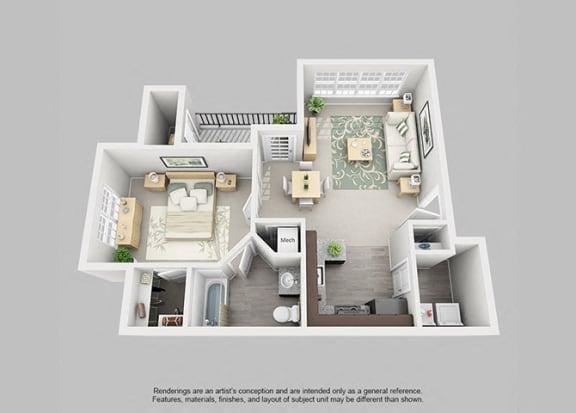Floor Plan  Perimeter 5550 Apartment Homes - 1 Bedroom 1 Bath Apartment