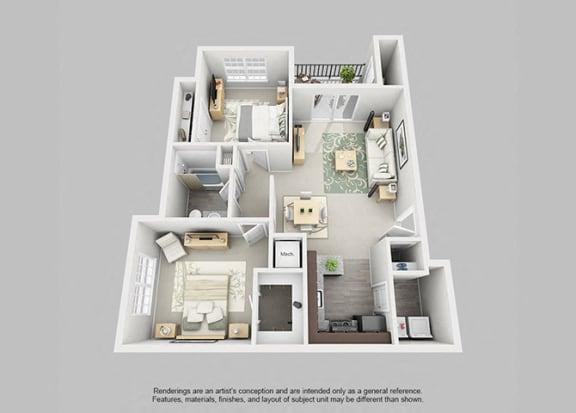 Floor Plan  Perimeter 5550 Apartment Homes - 2 Bedroom 1 Bath Apartment