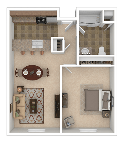 Tenth One Bed E Floor Plan