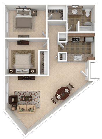 Floor Plan  Tenth Two Bed One Bath
