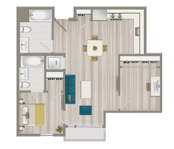 Floor Plan  One Bedroom + Study Floor Plan at Concourse, California, 90045