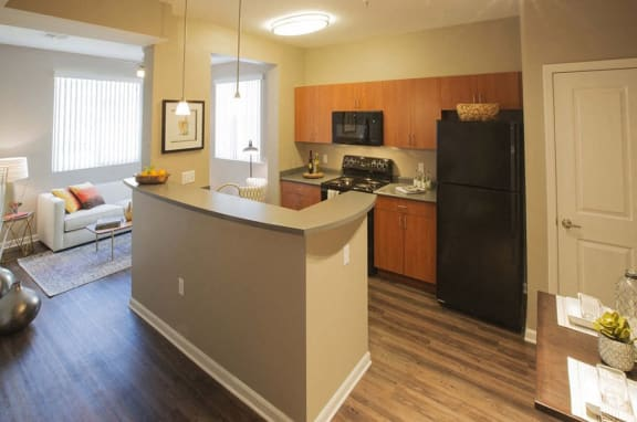 Kitchen and living Room l Apartments For Rent in Slymar CA at Rockwood at the Cascades