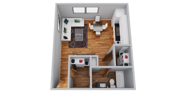 The Broadmoor Apartments Studio 3D Floor Plan