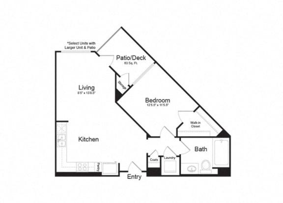 Floor Plan  Clarendon Apartments Ventura 1 1x1 705sf