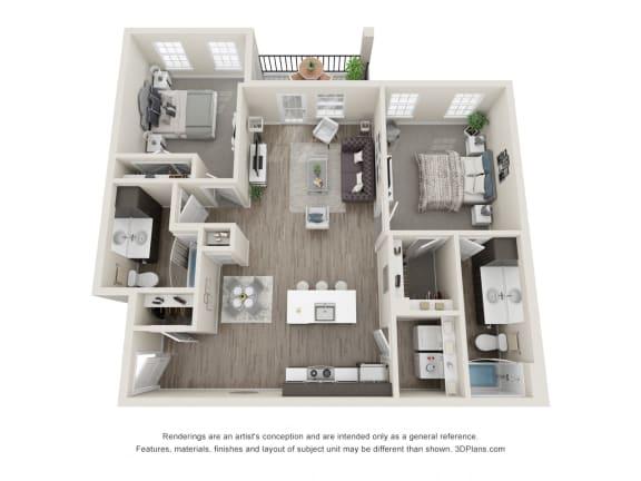 Maple 2 Bed 2 Bath Floor Plan at Village Place Apartments, Romeoville