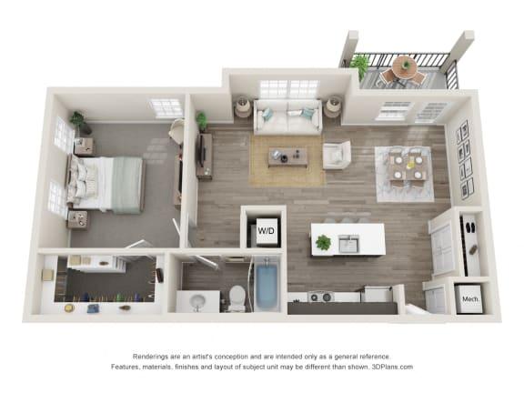 Oak 1 Bed 1 Bath Floor Plan at Village Place Apartments, Romeoville, IL, 60446