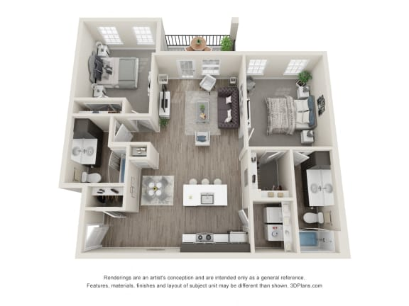 Two bedroom Two bathroom Floor Plan at 24 at Bloomfield, Bloomfield Hills, MI, 48302