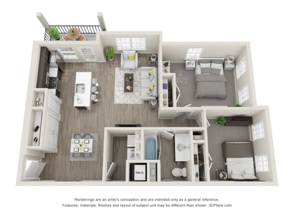 2 Bedroom 1 Bathroom Floor Plan at 24 at Bloomfield, Bloomfield Hills, Michigan
