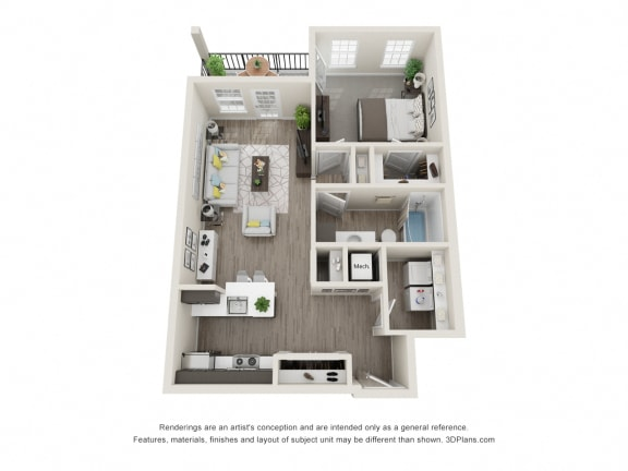 One Bedroom One Bath Floor Plan at 24 at Bloomfield, Bloomfield Hills