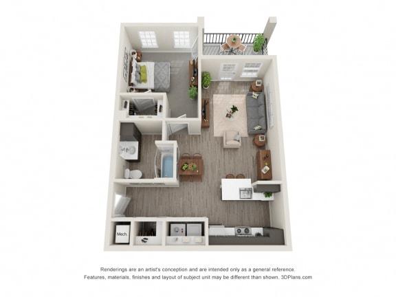 Blue Juniper 1 Bed 1 Bath Floor Plan at 24 at Bloomfield, Bloomfield Hills, MI, 48304