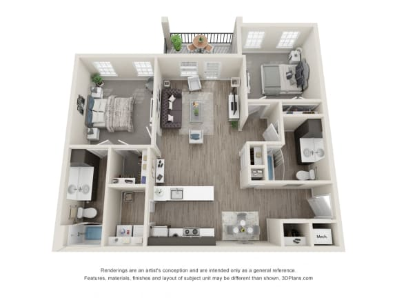 Blue Spruce 2 Bed 2 Bath Floor Plan at 24 at Bloomfield, Bloomfield Hills, MI