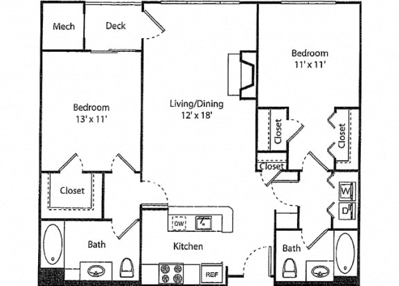 Glenbrook - 2x2R Floor Plan at Parc Grove, Stamford