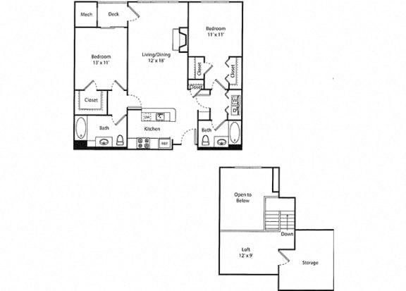 Glenbrook Loft - 2x2R Floor Plan at Parc Grove, Stamford, CT