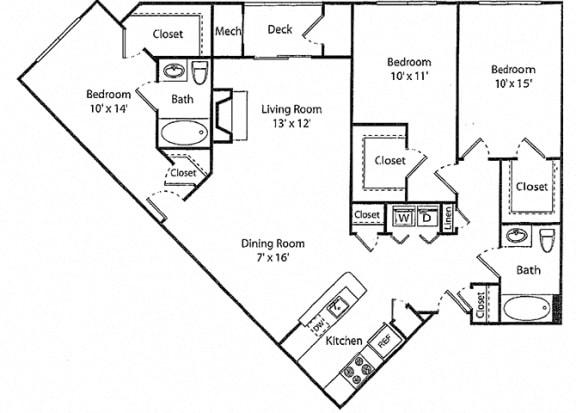 Wescott - 3x2R Floor Plan at Parc Grove, Stamford, CT, 06901