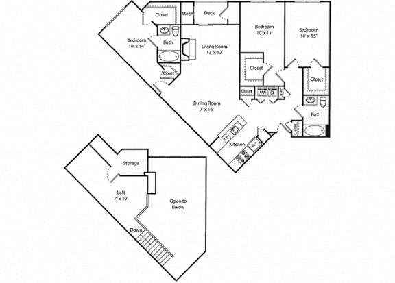 Wakeman Loft - 3x2.5 Floor Plan at Parc Grove, Stamford