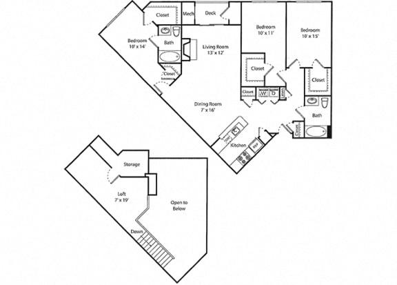 Wescott Loft - 3x2R Floor Plan at Parc Grove, Stamford, CT