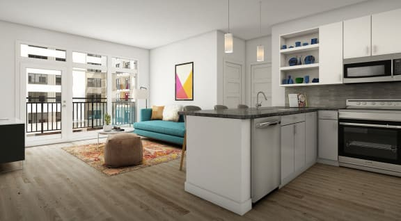 Living Room Come Kitchen View at Link Apartments® Montford, North Carolina, 28209