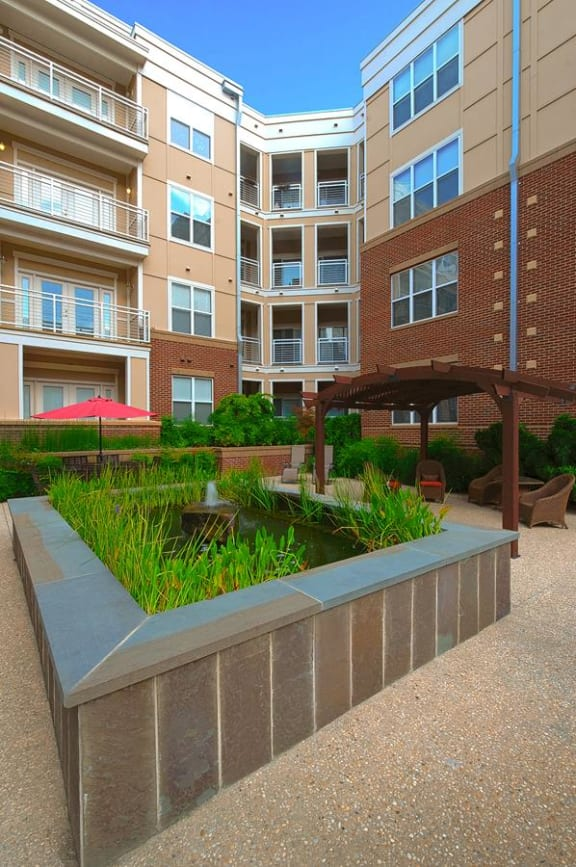 Internal Courtyards with Gardens and Fountains at Oberlin Court, Raleigh, NC