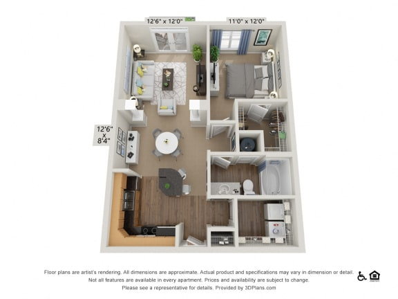 B1 1 Bed 1 Bath Floor Plan