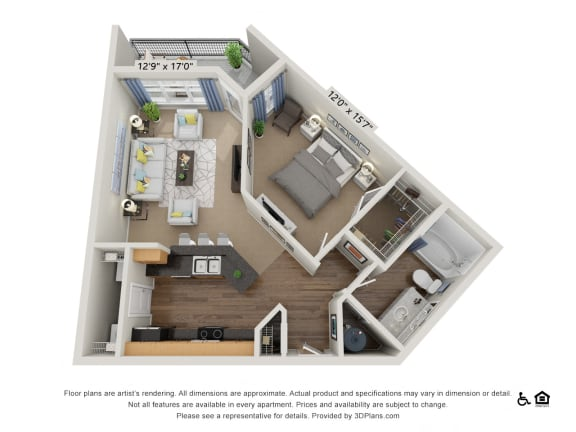 Oberlin Court 1 Bed 1 Bath Floor Plan