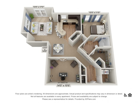 C1 1 Bed 1 Bath Floor Plan