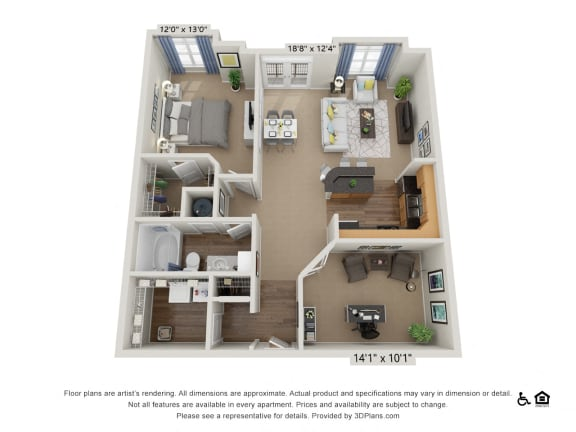 D2 1 Bed 1 Bath Floor Plan