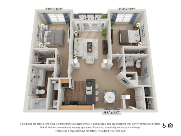 E1 2 Bed 2 Bath Floor Plan