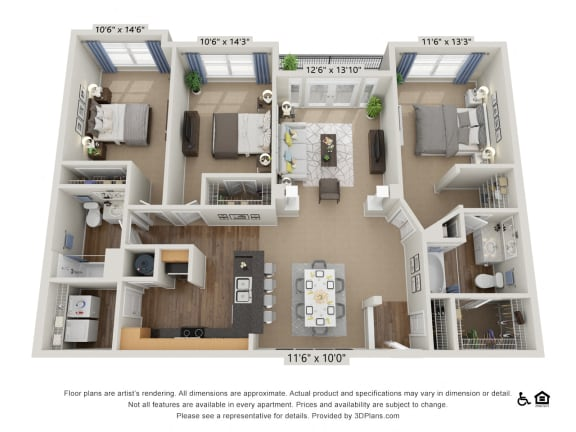 F3 3 Bed 2 Bath Floor Plan
