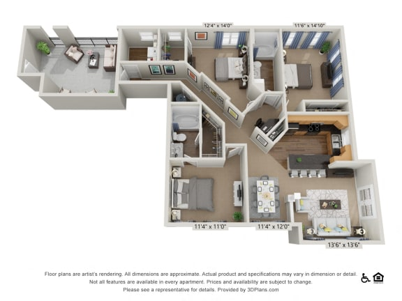F5 3 Bed 2 Bath Floor Plan