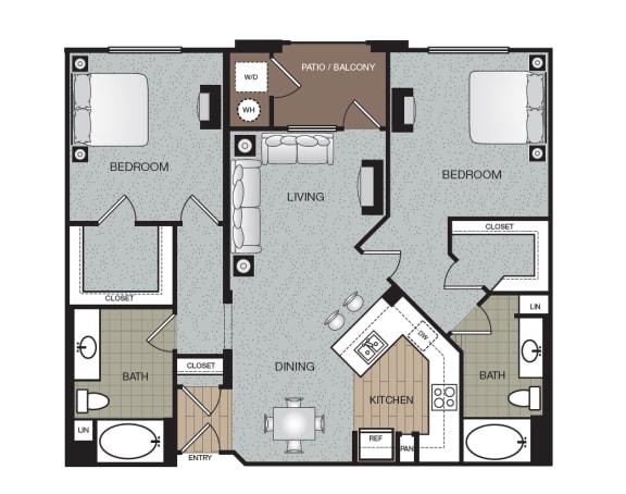 Cosmo 2 Bed 2 Bath Floorplan at The Enclave at Warner Center, 6710 Variel Ave