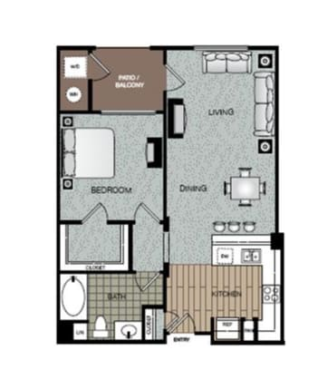 Luxe 1 Bed 1 Bath Floorplan at The Enclave at Warner Center, California, 91303