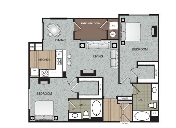 Trend 2 Bed 2 Bath Floorplan at The Enclave at Warner Center, 6710 Variel Ave, CA