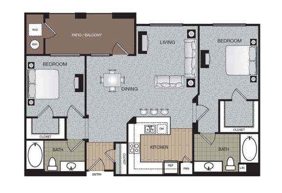 Vouge 2 Bed 2 Bath Floorplan at The Enclave at Warner Center, Woodland Hills, CA