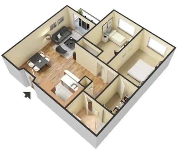 C – 2 Bedroom 1 Bath Floor Plan Layout – 730 Square Feet