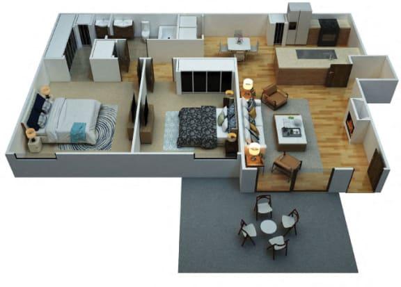 Floor Plan  B1 Floorplan at Woodcreek Apartments in Las Vegas NV