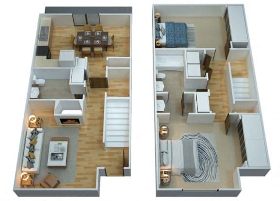 Floor Plan  B2 Floorplan at Woodcreek Apartments in Las Vegas NV