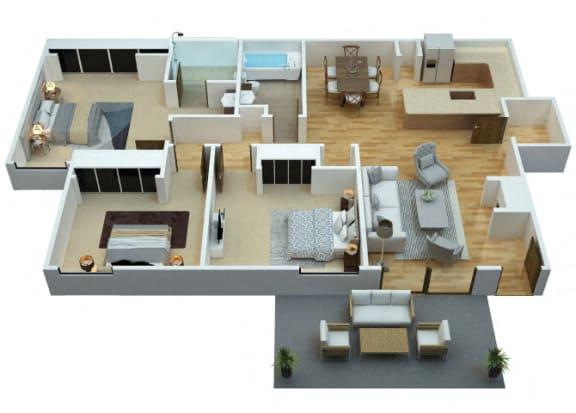 Floor Plan  C1 Floorplan at Woodcreek Apartments in Las Vegas NV