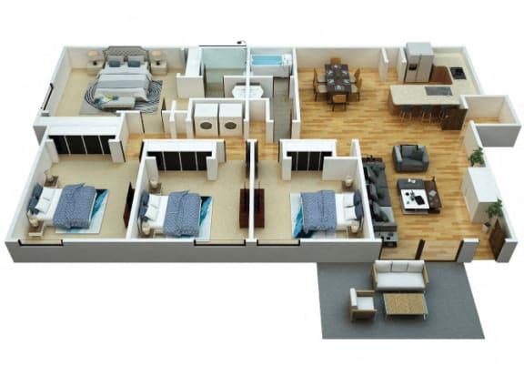 Floor Plan  D1 Floorplan at Woodcreek Apartments in Las Vegas NV