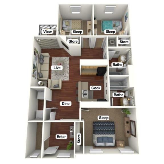 Floor Plan  3 Bed | 2 Bath