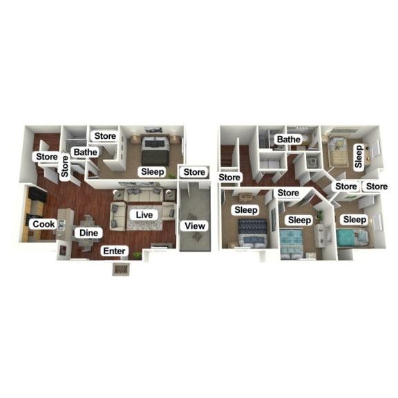 Floor Plan  5 Bed | 2 Bath