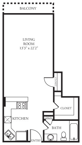 Floor Plan  E1 Floor Plan at Memorial Towers Apartments, The Barvin Group, Houston, TX, 77007