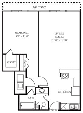 Floor Plan  A1 Floor Plan at Memorial Towers Apartments, The Barvin Group, Houston, Texas