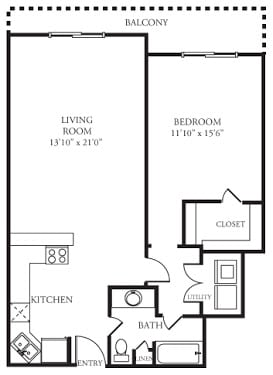 Floor Plan  A2 Floor Plan at Memorial Towers Apartments, The Barvin Group, Houston