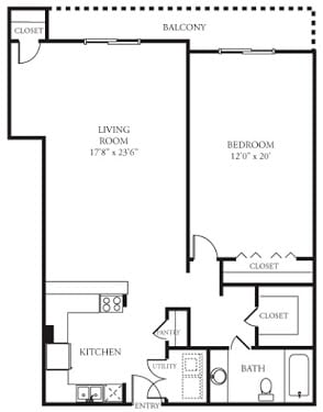 Floor Plan  A4 Floor Plan at Memorial Towers Apartments, The Barvin Group, Houston, 77007