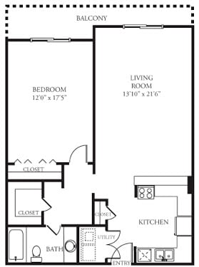 Floor Plan  A5 Floor Plan at Memorial Towers Apartments, The Barvin Group, Texas