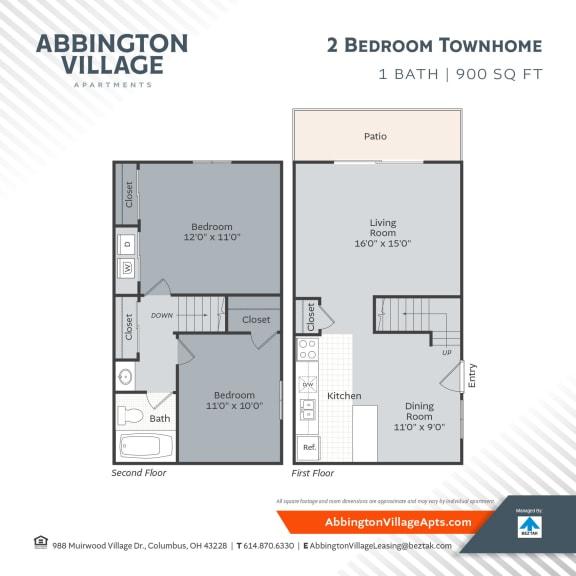 Townhome Floor Plan at Abbington Village Apartments, Ohio
