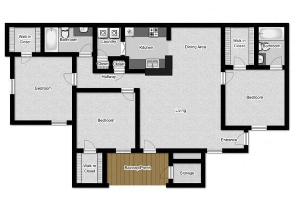 3 bed Floor Plan at Litchfield Oaks Apartments, Pawleys Island, 29585