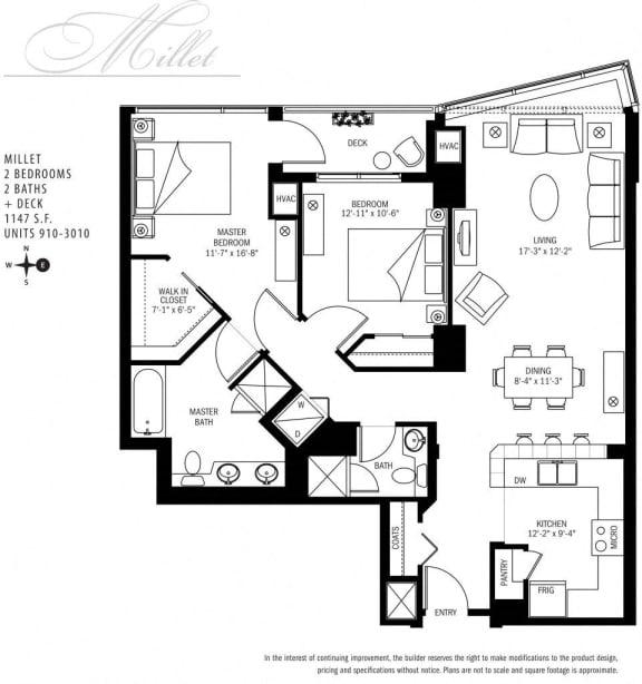 Floor Plan  Met Tower Apartments Millet U Floor Plans