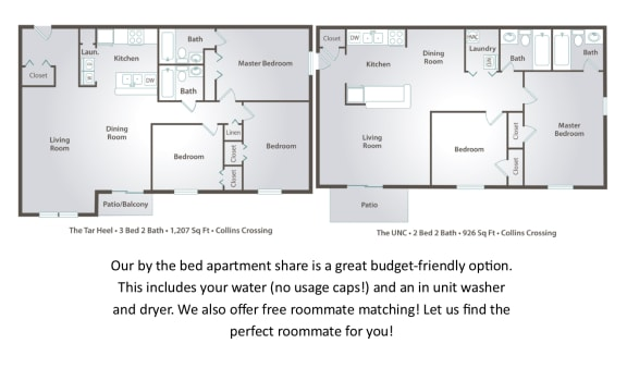 By the bed apartment home rentals at Collins Crossing